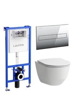 ПЭК Laufen Pro 8.6996.6.000.000.R подвесной унитаз + инсталляция + кнопка + сиденье - фото 131541