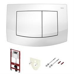 Комплект для установки подвесного унитаза: застенный модуль, пластиковая панель смыва TECEambia, белая - фото 150120