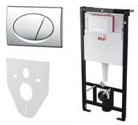 ALCA PLAST Комплект: инсталляция для унитаза с белоуй кнопкой M70 и с крепежом к стене с шумоизоляцией