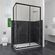 RGW CL-44B 90х100 Душевой уголок прямоугольный, двери раздвижные, профиль черный, стекло прозрачное 5 мм