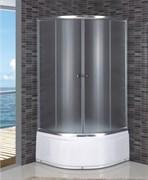 DOLPHIN TN-110 100х100 Душевой уголок полукруглый, двери раздвижные, профиль хром, стекло фабрик (fabrik) 4 мм