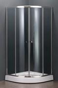DOLPHIN TN-204-J 80х80 Душевой уголок полукруглый, двери раздвижные, профиль хром, стекло фабрик (fabrik) 5 мм