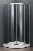 DOLPHIN TN-209-J 100х100 Душевой уголок полукруглый, двери раздвижные, профиль хром, стекло прозрачное 5 мм
