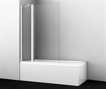 WASSERKRAFT Berkel 48P02-110 WHITE Fixed Стеклянная шторка на ванну, двухстворчатая,белый профиль, ширина 110 см, стекло прозрачное 6 мм