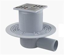 ALCA PLAST Сливной трап, 105х105/50 мм, боковая подводка, решетка из нерж.стали , гидрозатвор мокрый