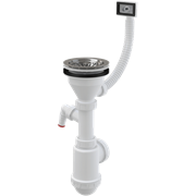 ALCA PLAST Сифон для мойки, с нержавеющей решеткой-пробкой, d 115 мм, с гофропереливом и штецером для посудомойки