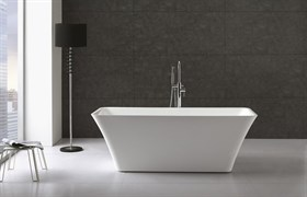 BELBAGNO BB60 Ванна акриловая отельностоящая прямоугольная в комплекте со сливом-переливом цвета хром